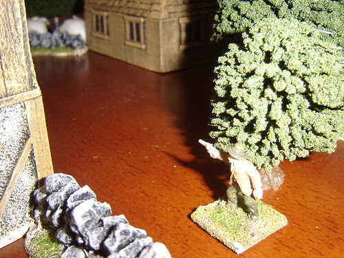 Evans move through the trees until he can see the Pinkertons near Farrells'