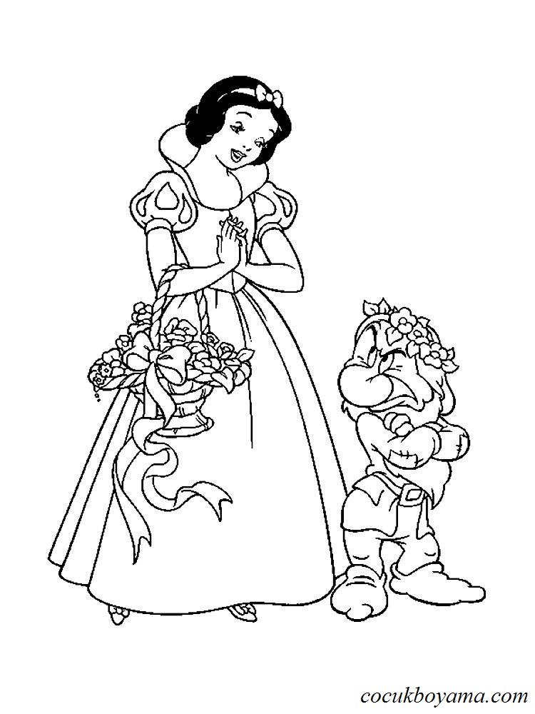 Pamuk Prenses Ve Yedi Cuceler 20 ücretsiz Boyama Resimleri