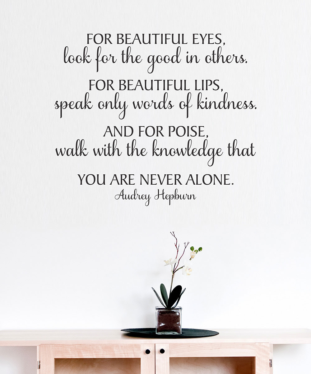 Audrey Hepburn Black For Beautiful Eyes Wall Quote From Belvedere