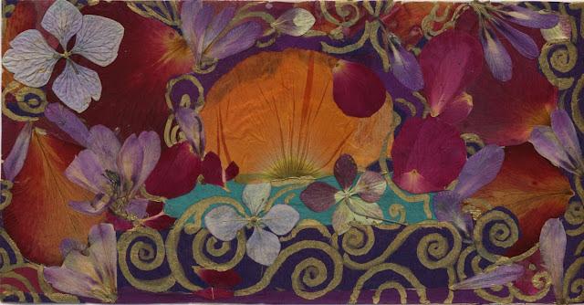 Morning Sun card handmade by Ayya from dried flower petals