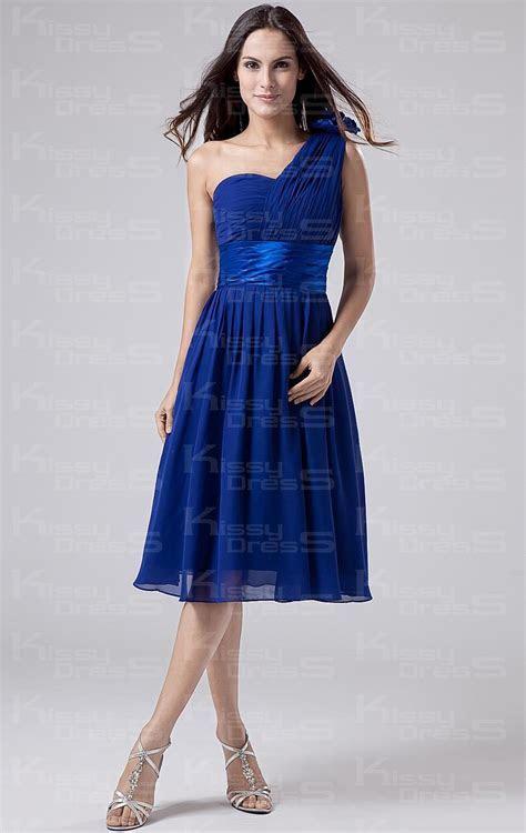 Cheap Royal Blue A line One Shoulder Natural Waist Chiffon