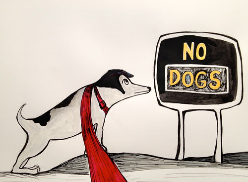 Saying no to Elvez the dog by Michelle Schamis