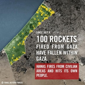 IDF map showing 100 Hamas rockets striking within Gaza. Photo: IDF / Twitter.