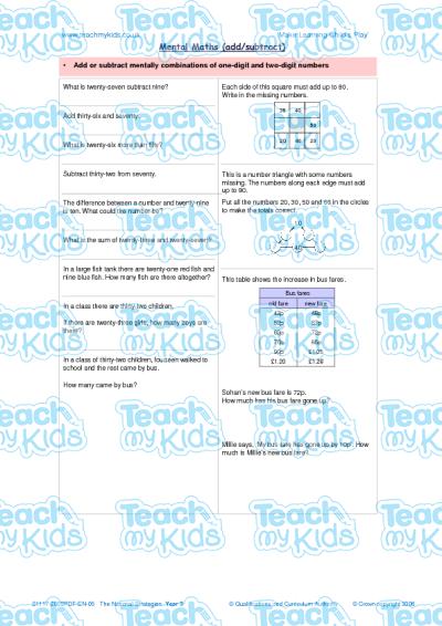 Mental Maths (add, Subtract)   Teach My Kids