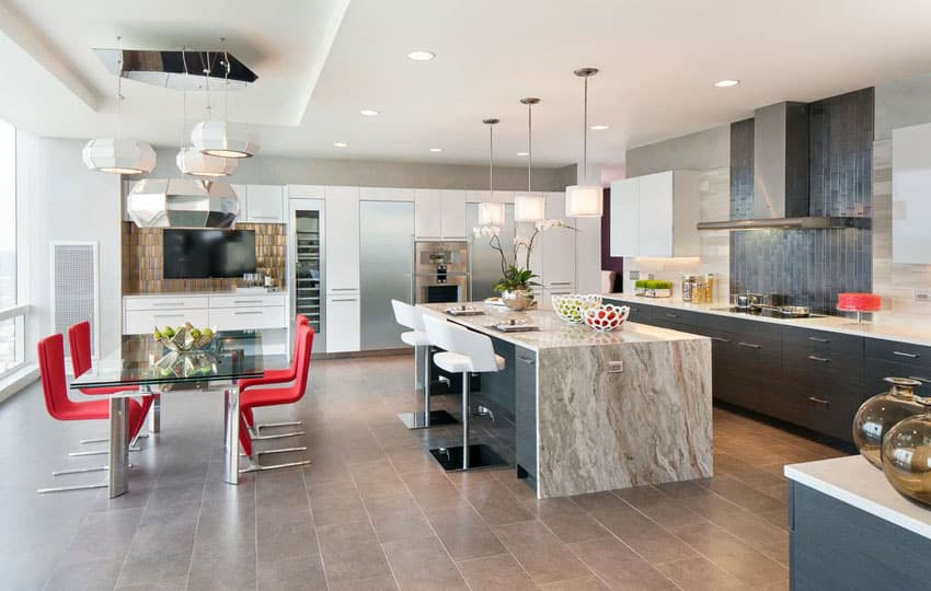luxury modern kitchen with miele applainces and large breakfast bar island