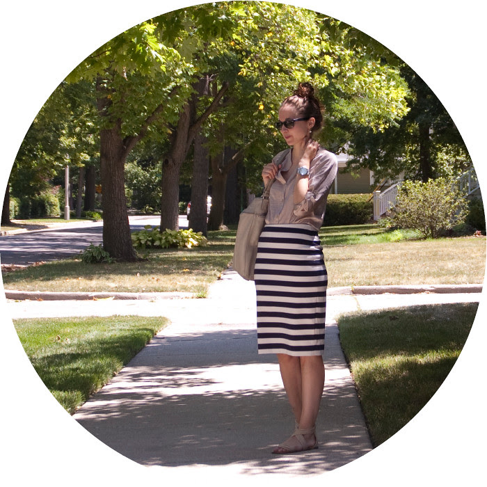 outfit post, striped pencil skirt, limited ponte striped pencil skirt, roll tab shirt, pencil skirt with sandals, ootd, how to wear, outfit ideas, july, summer