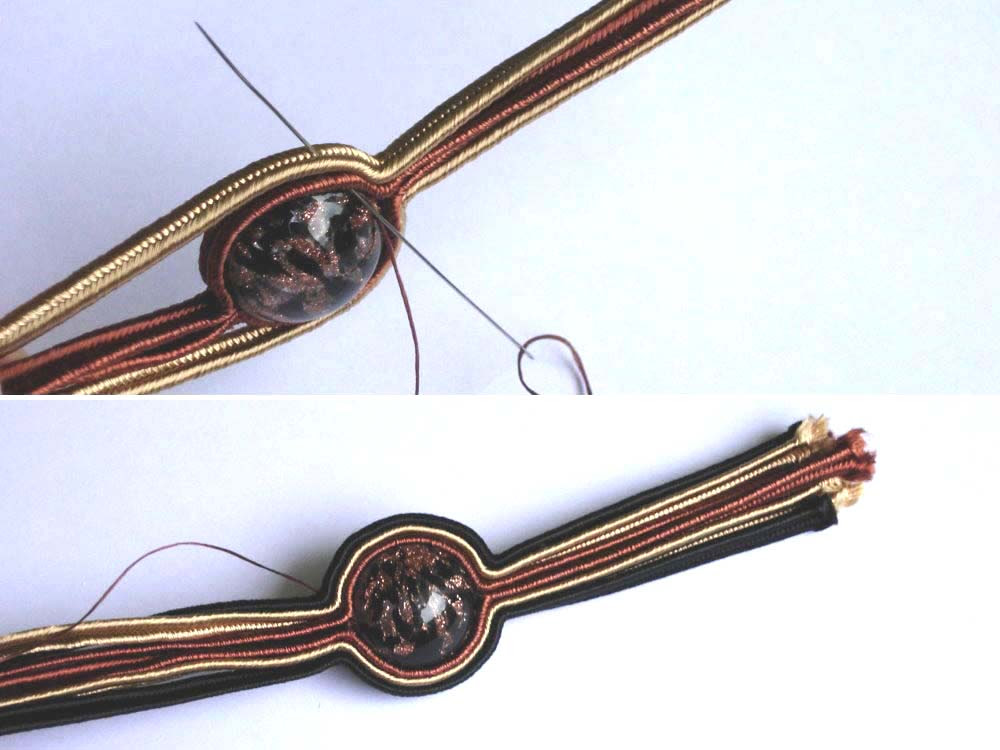Anneta Valious. Bracelet made from soutache and beads Step 3