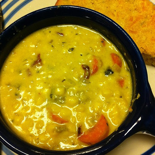 Roasted Corn Chowder with Carrots & Chiles
