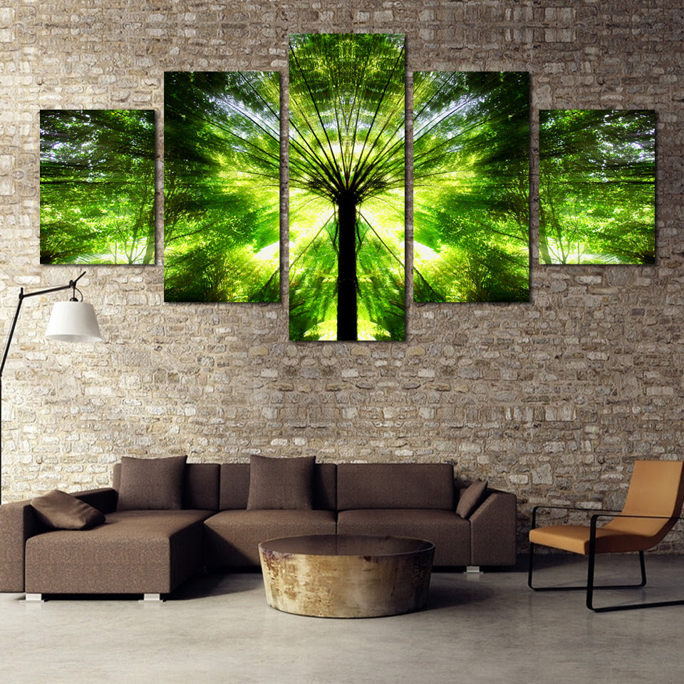 Modern Abstract Canvas Painting Wall Art Pictures 5 Panel Bamboo Plant Retrodora
