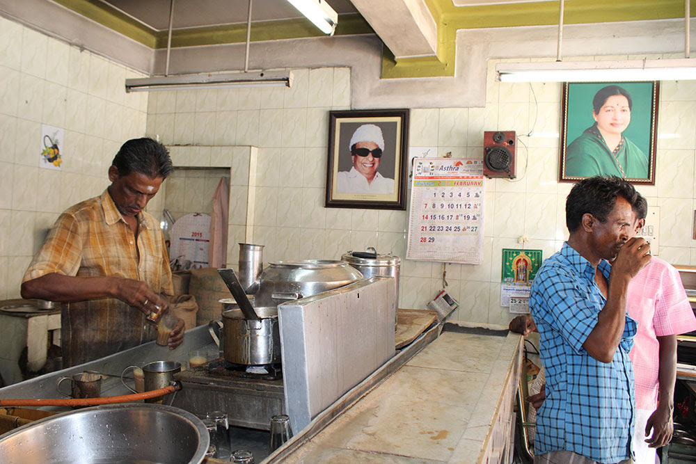 Inside Rosie Canteen, initially started by OPS, hang pictures of former Tamil Nadu Chief Minister MG Ramachandran and current Chief Minister Jayalalithaa. Credit: Sandhya Ravishankar
