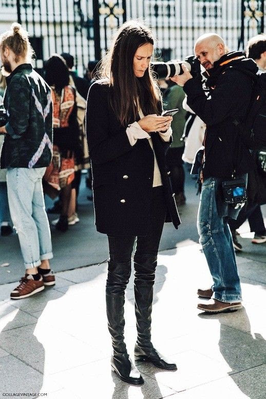 Le Fashion Blog Fall Winter Street Style Classic Black Coat Gold Buttons Black Skinny Jeans Tall Over The Knee Boots Via Collage Vintage
