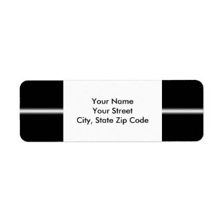 Faded White Stripe on Black return address label