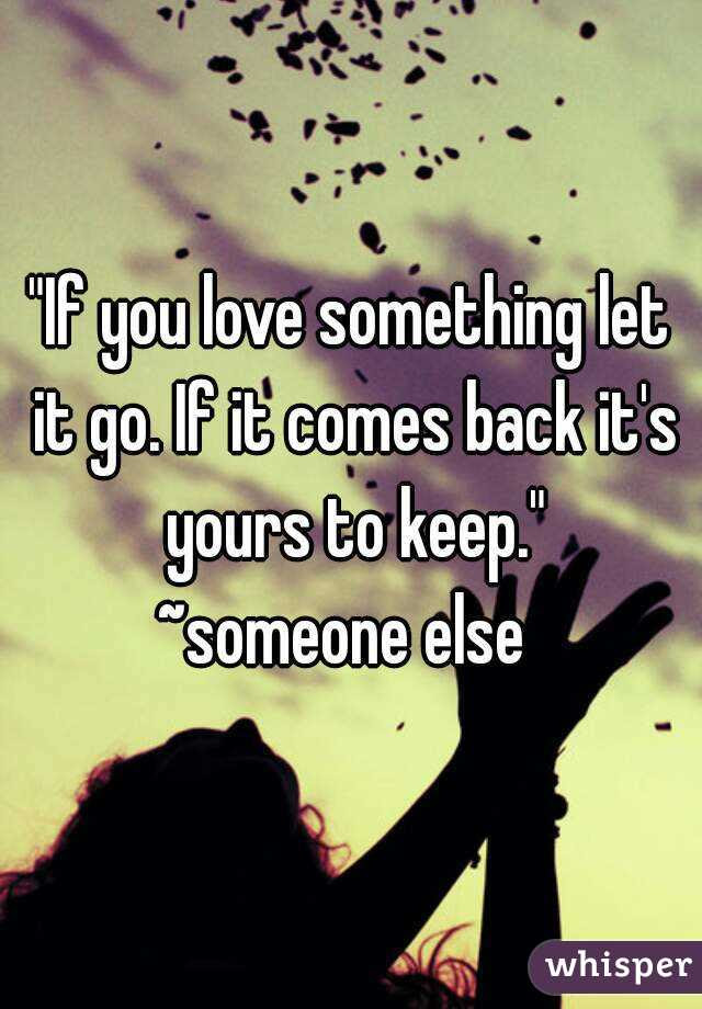 If You Love Something Let It Go If It Comes Back Its Yours To Keep