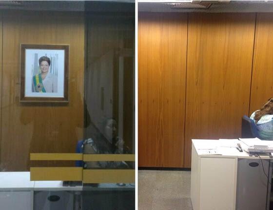 O líder do governo mandou retirar a foto de Dilma Rousseff do gabinete (Foto: Reprodução)