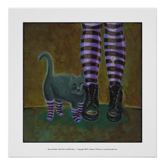 Goth cat art boots striped socks fun painting print