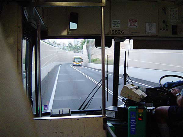 photo taken from inside a bus