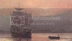 the ship Mayflower anchored in the harbor after arriving at Cape Cod, Massachusetts