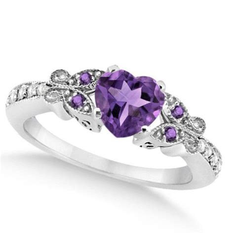 Butterfly Amethyst Diamond Heart Engagement Ring   My
