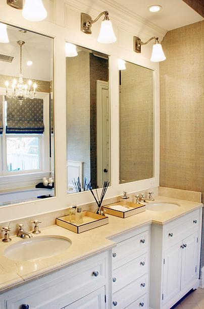 White Double Vanity - Transitional - bathroom - Elsa Soyars
