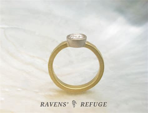 hammered eco friendly engagement ring with conflict free