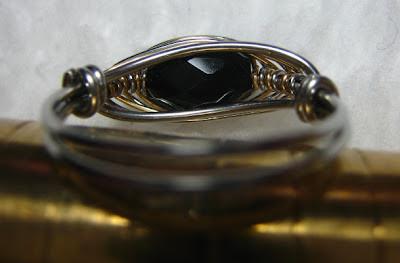 Two tone herringbone weave ring with black onyx