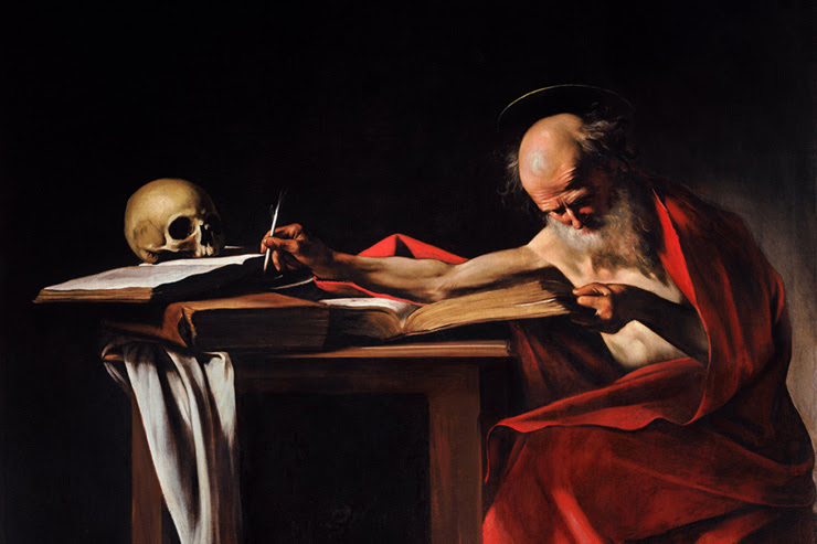 """""""St. Jerome Writing"""" (detail) by Caravaggio"""
