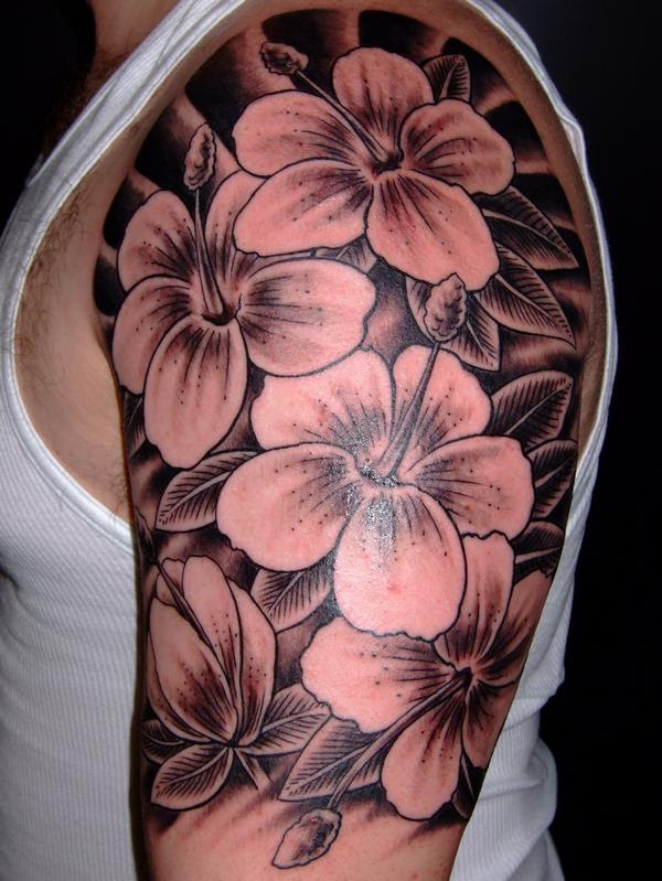Hawaiian Flower Tattoos On Left Half Sleeve