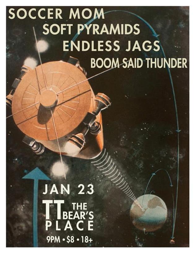Soccer Mom, Soft Pyramids, Endless Jags, Boom Said Thunder