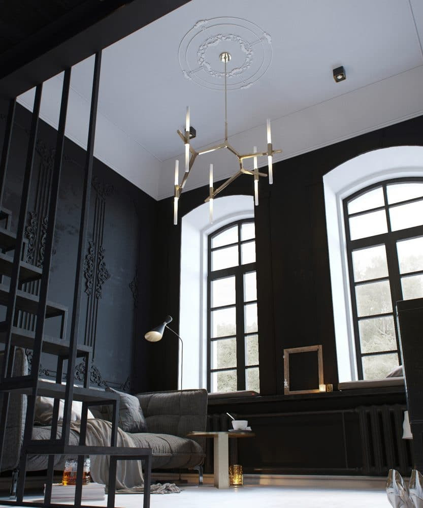 Tiny Monochrome Black Walled Apartment With Mezzanine Floor Home Interior Design Kitchen And Bathroom Designs Architecture And Decorating Ideas