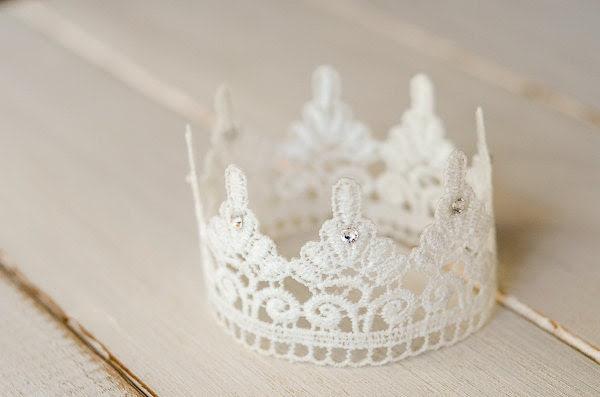 White Lace Newborn Crown, Photography Prop, Swarovski Crystals