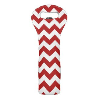 Red and White Zigzag Wine Bags