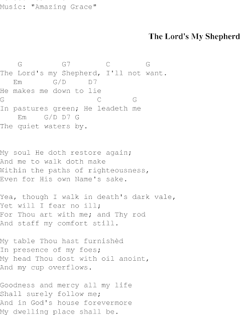 The Lord Is My Shepherd Lyrics And Chords