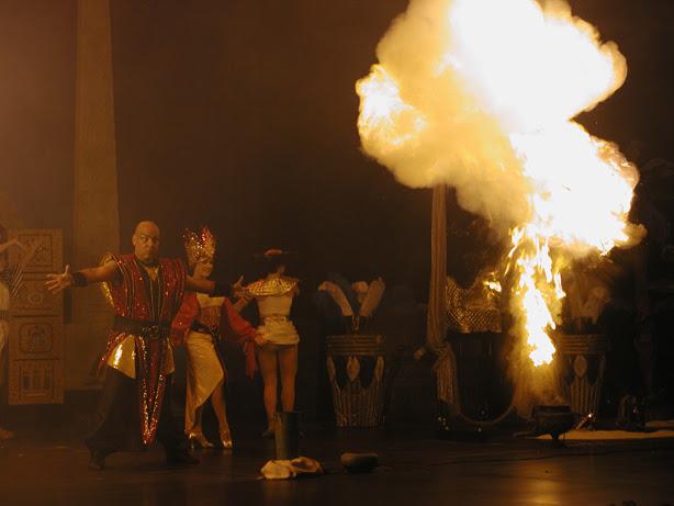 fireball in a theme park illusion show