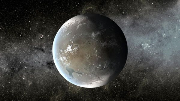 An artist's concept of Kepler-62f, a super-Earth-size exoplanet in the habitable zone of a star (smaller and cooler than our Sun) that is located about 1,200 light-years from Earth in the constellation Lyra.
