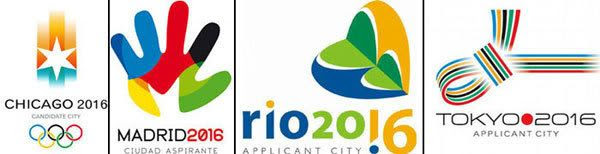 The logos of various cities vying for the 2016 Summer Olympic Games.