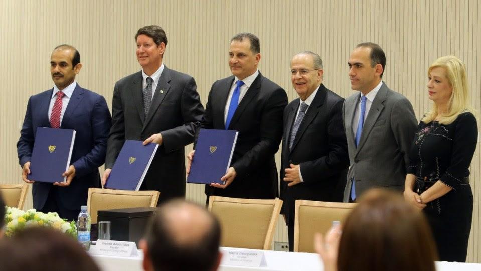 File Photo: Στιγμιότυπο από την τελετή υπογραφής των Συμβολαίων Έρευνας και Αναλογικού Καταμερισμού Παραγωγής για το Τεμάχιο 10 της κυπριακής ΑΟΖ από την ExxonMobil Exploration and Production Cyprus (Offshore) Limited και Qatar Petroleum International Upstream O.P.C., στη Λευκωσία, στις 5 Απριλίου 2017. ΚΥΠΕ, ΚΑΤΙΑ ΧΡΙΣΤΟΔΟΥΛΟΥ