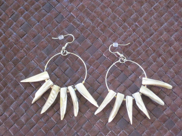 Mussel Shell Spike Hoop Earrings