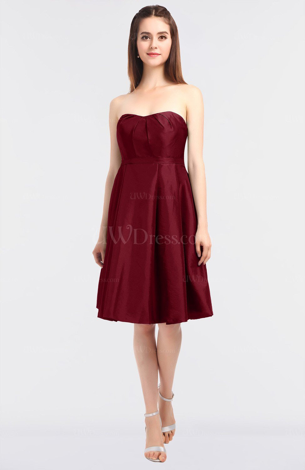 Burgundy Elegant A-line Sleeveless Zip up Knee Length ...