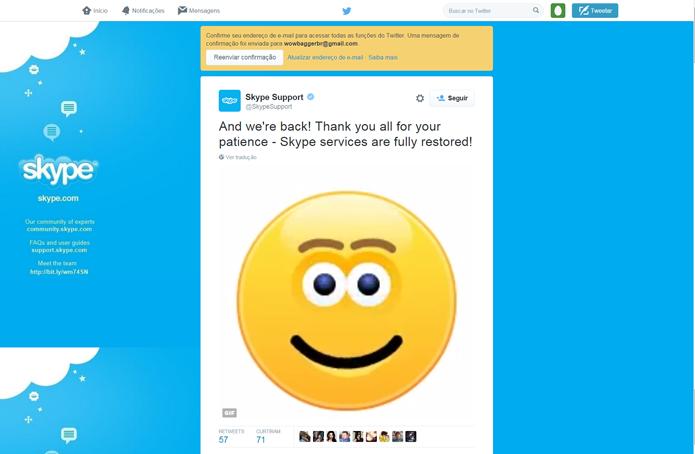 Com direito a emoji, equipe do suporte técnico do Skype divulgou o restabelecimento do serviço (Foto: Reprodução/Twitter)