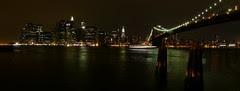 Puente de Brooklyn y Manhattan de noche