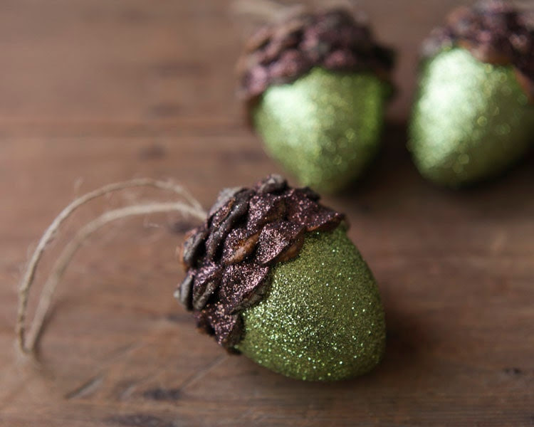 Acorn Ornaments, Moss Green Shimmer, Rustic Wooodland Decor - Set of 3 - smilemercantile