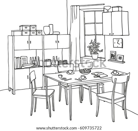 Graphic Sketch Living Room Liner Stock Illustration ...