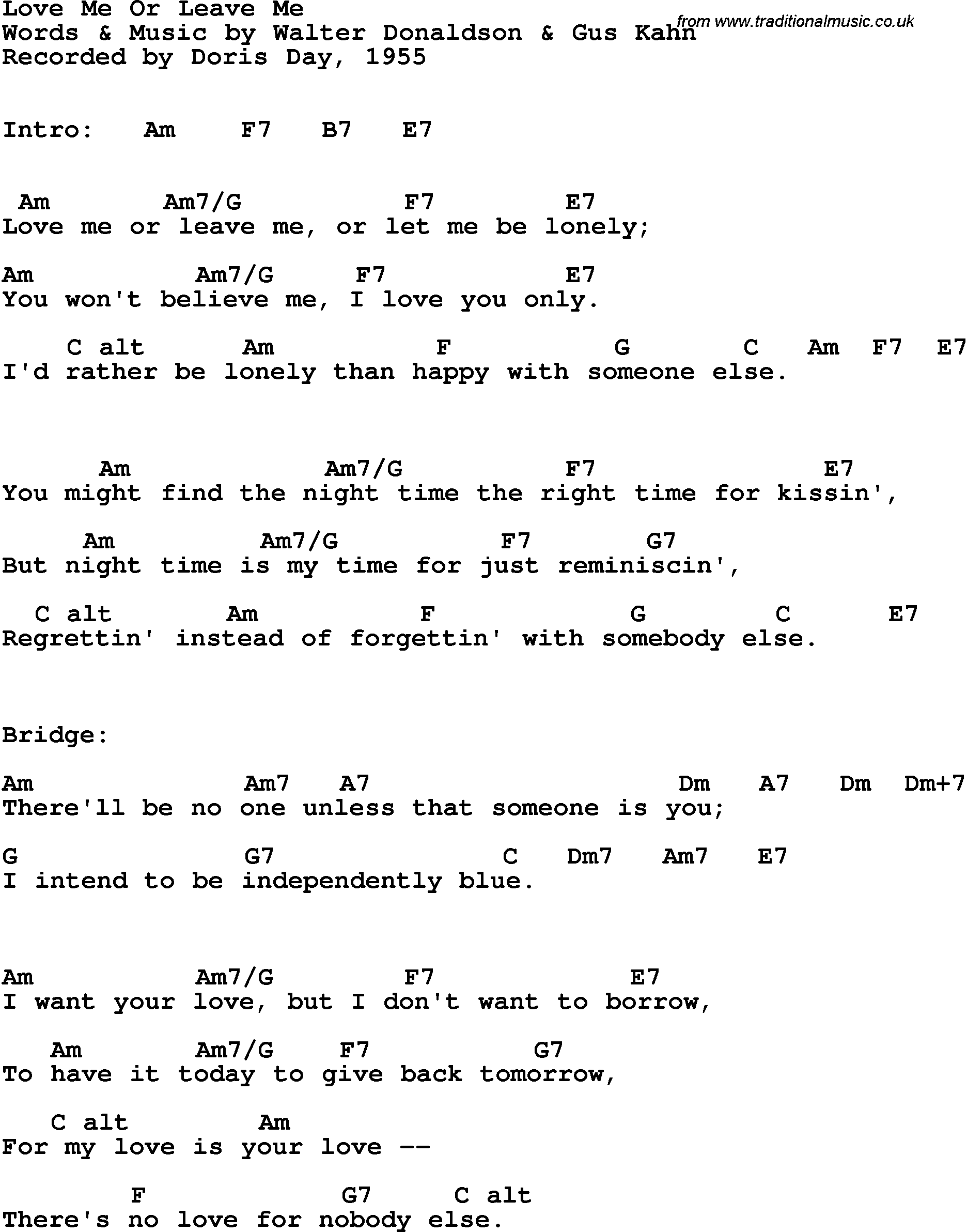 Song Lyrics With Guitar Chords For Love Me Or Leave Me Doris Day 1955