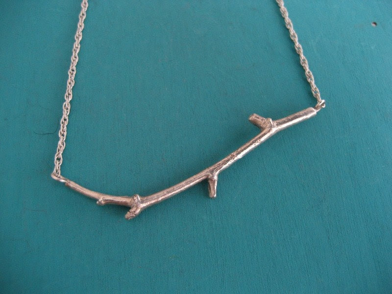 Simple and organic twig necklace in sterling silver