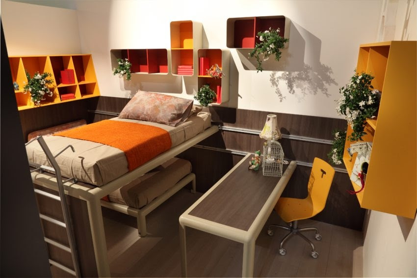 Orange Red Brown Bedroom Interior Design Ideas