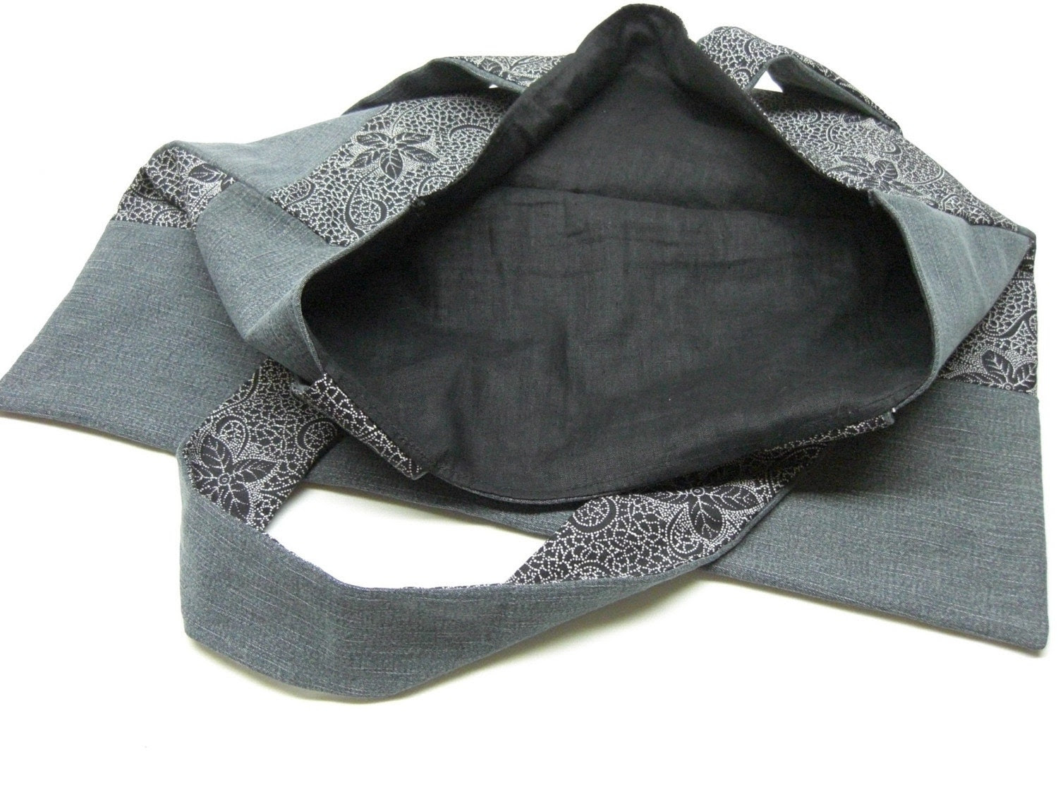 Black jean and flowers bag