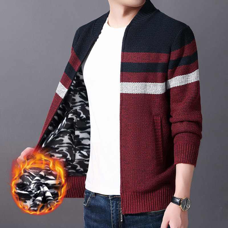 Mens Sweaters 2019 Autumn and Winter New Cardigan Sweater Plus Velvet Padded Men's Sweater Stand Collar Plus Size Sweater
