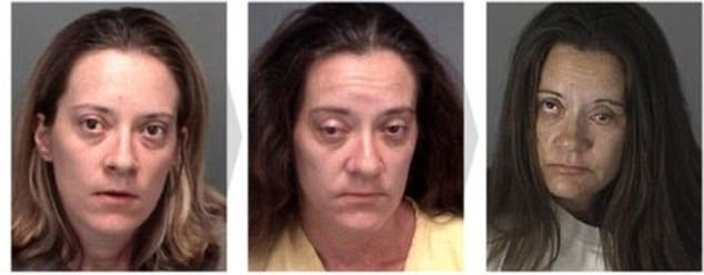Melynda was first arrested in 2006, at the age of 32 (left) for 'scheme to defraud'. In June 2011 she was arrested again for tresspass (centre), before being taken into custody in 2013, at the age of 39 (right) for possession of a controlled substance
