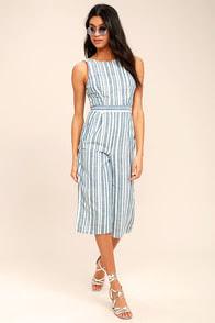 Olive & Oak My Dearest Blue and White Striped Midi Jumpsuit