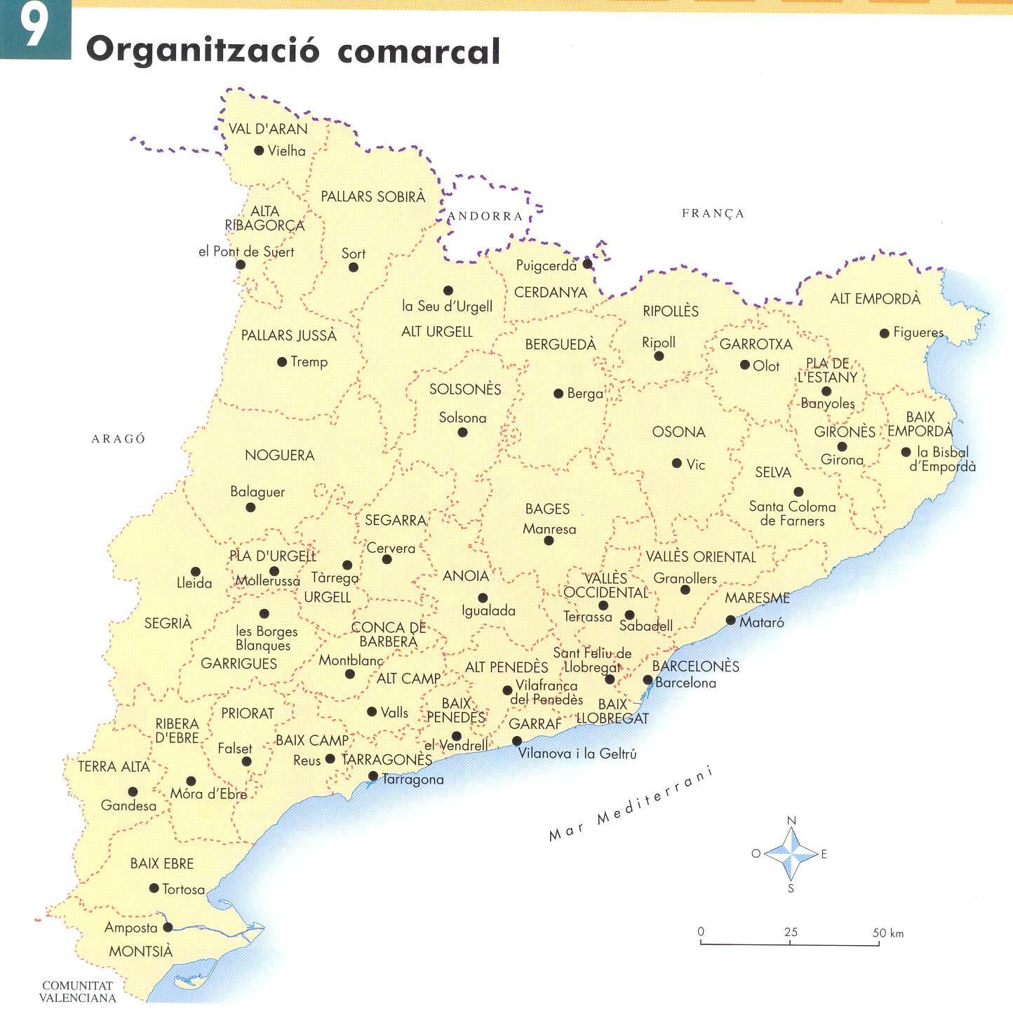 Mapa De Les Comarques De Catalunya I Capitals.Mapa Catalunya Comarques I Capitals Mapa